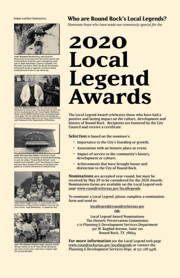 Help select the 2020 Local Legends