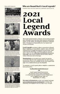 Nominate Round Rock's 2021 Local Legends